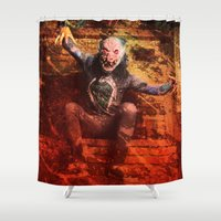 terry fan Shower Curtains featuring Scary Terry by Erik 'Rough Cut' Coleman