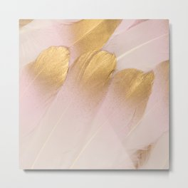Gold Tipped Pink Feathers Metal Print