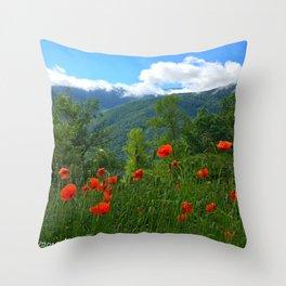 Wild poppies of the Pyrenees mountains Throw Pillow