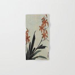 Hokusai, red orchid -manga, japan,hokusai,japanese,北斎,ミュージシャン Hand & Bath Towel