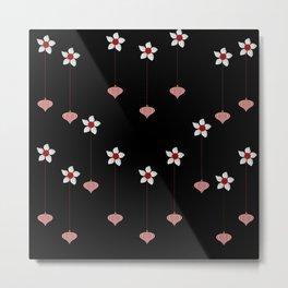 Lantern and flowers pattern Metal Print