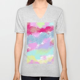 Abstract Whimsical Pink Teal Lilac Watercolor Unisex V-Neck