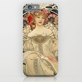 F. Champenois Alphonse Mucha - printer lithographer - peasant woman - neoclassical gown Egyptian - floral motifs hair - Ad Wall Decor Print iPhone Case