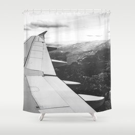 Mountain State // Colorado Rocky Mountains off the Wing of an Airplane Landscape Photo Shower Curtain