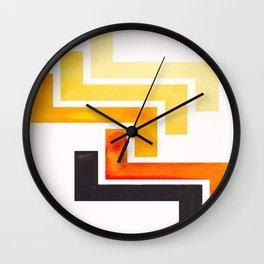 Orange Ancient Aztec Pattern Mid-century Modern Simple Geometric Pattern Watercolor Minimalist Art S Wall Clock