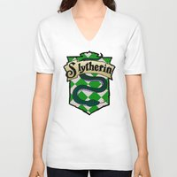slytherin V-neck T-shirts featuring Slytherin Crest by AriesNamarie