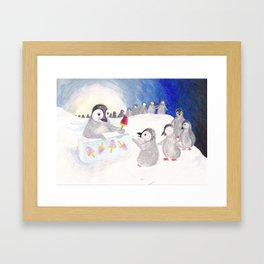 Penguin Ice Cream Stand Framed Art Print