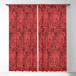 Happy Octopus Squid Kraken Cthulhu Sea Creature - Chile Oil Red Blackout Curtain