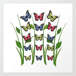 Group of blue, red and green monarch butterflies Art Print