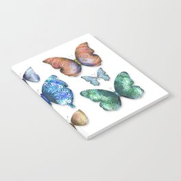 Butterfly Taxidermy // Beautiful Mandala Detailed Wings Design // Lime Green, Bright Blue, Gold Notebook