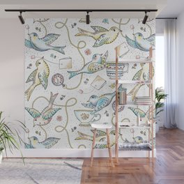 Twittering Tea Party Wall Mural