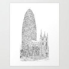 The Gherkin Art Print