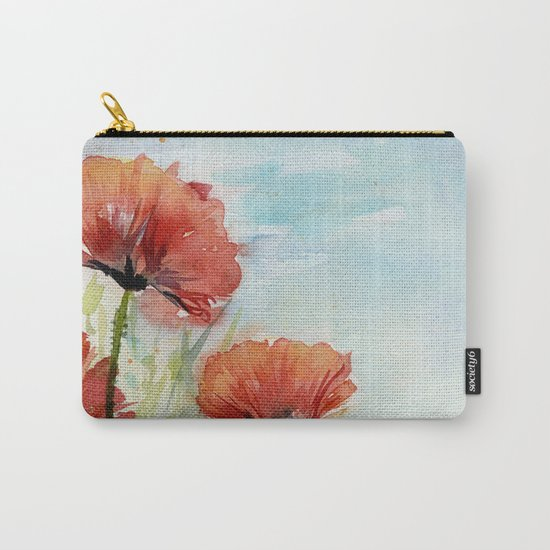 Red Flowers Watercolor Landscape Poppies Poppy Field Carry-All Pouch
