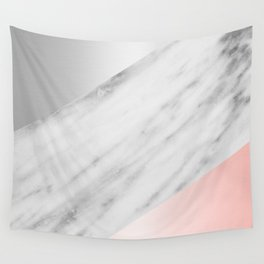 Pink Grey and Marble Collage Wall Tapestry