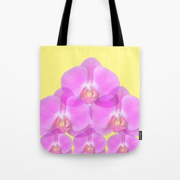TROPICAL PINK ORCHIDS & YELLOW FLORAL ABSTRACT Tote Bag