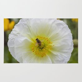 White Poppy with Bee Rug