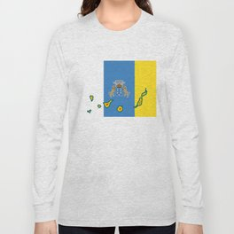 Canary Islands Flag with Map of the Canary Islands Islas Canarias Long Sleeve T-shirt