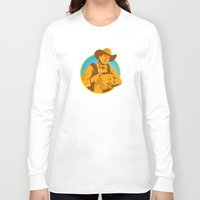 piglet Long Sleeve T-shirts featuring Pig Farmer Holding Piglet Front Retro by retrovectors