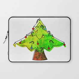 Watercolor Funky Chistmas Tree Laptop Sleeve