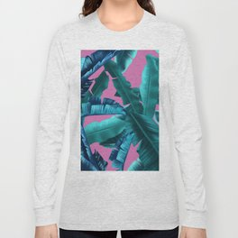 tropical banana leaves pattern pink Long Sleeve T-shirt