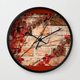 Red ivy leaves creeper on bricks wall Wall Clock