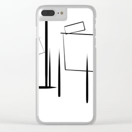 Minialist Black and White Clear iPhone Case