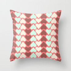 Creamy Hearts  Throw Pillow