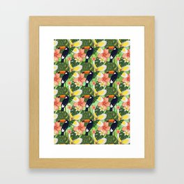 Toucan and Hawaii Hibiscus Pattern Framed Art Print