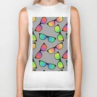 sunglasses Biker Tanks featuring Sunglasses Pattern by Karolis Butenas