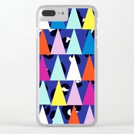 Triangle Animal Print in Royal Blue Clear iPhone Case