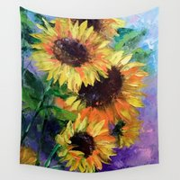 sunflowers Wall Tapestries featuring Sunflowers by OLHADARCHUK