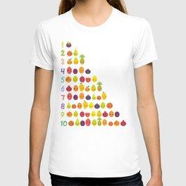 numbers for preschool kindergarten kids kawaii fruit from one to ten T-shirt