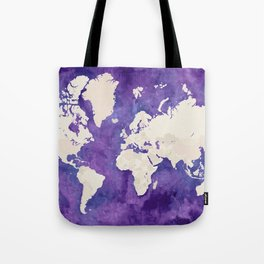 Purple watercolor and light brown world map with outilined countries Tote Bag
