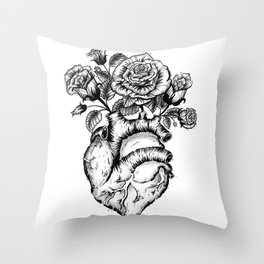 Roses and heart Throw Pillow