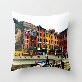 Cinque Terre, Italy Harbor in Riomaggiore/Vernazza Throw Pillow
