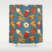 junk food Shower Curtains featuring Fast Food by Tracie Andrews