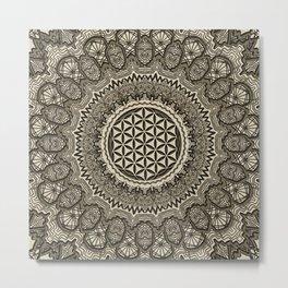 Flower of life in  mandala on canvas Metal Print