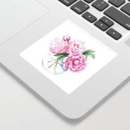 Pink Peony Painting, Watercolor Peony Art, Pink Flower Bouquet Sticker