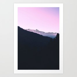 Mountain Forest Sky Pink Pastel Art Print