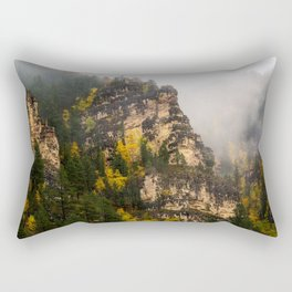The Walls of Spearfish Canyon - Foggy Autumn Day in South Dakota Rectangular Pillow