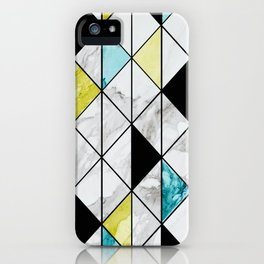 Marble Colorblocking with Yellow and Turquoise iPhone Case