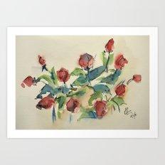 Roses 3 (watercolor) Art Print