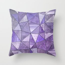 Purple Lilac Glamour Shiny Shimmering Patchwork Throw Pillow