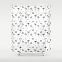 Dandelions in Black Shower Curtain