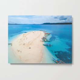 Boats at the tiny beach Metal Print