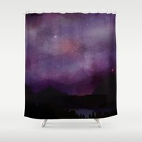 night sky Shower Curtains featuring Night Sky by Ale Ibanez