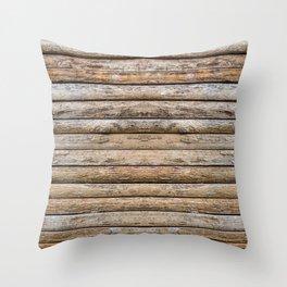 Wood Effects Raw Wood Log Cabin Lodge Rustic Throw Pillow