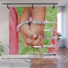 Big Sis & Lil Sis Holding Hands Wall Mural