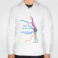 subway Hoodies featuring Chicago Subway by Abstract Graph Designs
