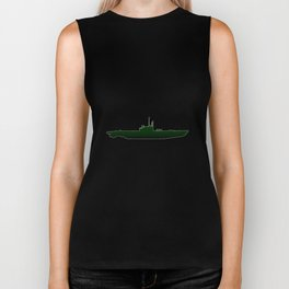Submarine Silhouette Biker Tank